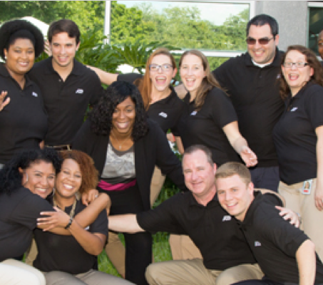 group of ADP associates wearing black shirts from the Orlando, FL office