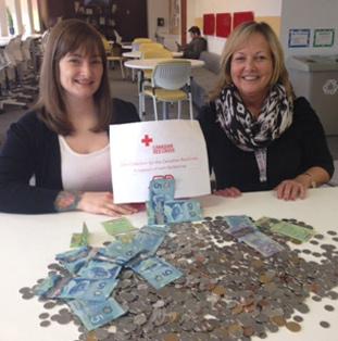 dvě zaměstnankyně ADP při dobročinné sbírce sedí za stolem pokrytým mincemi a dolarovými bankovkami
