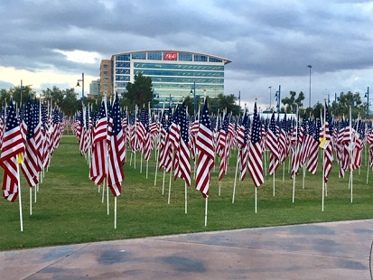 Several rows of large US flags dot the lawn in front of ADP Tempe building.