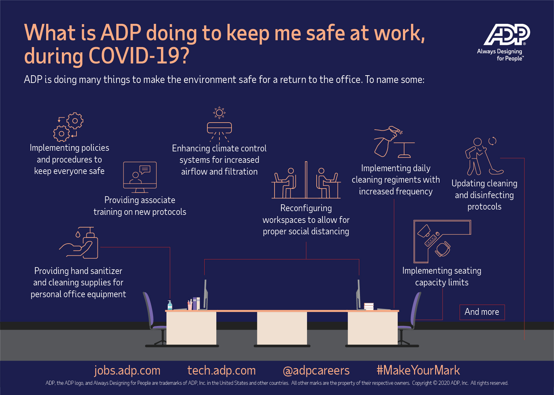 Infographic: What is ADP doing to keep me safe at work, during COVID-19? Click Download PDF below for details.