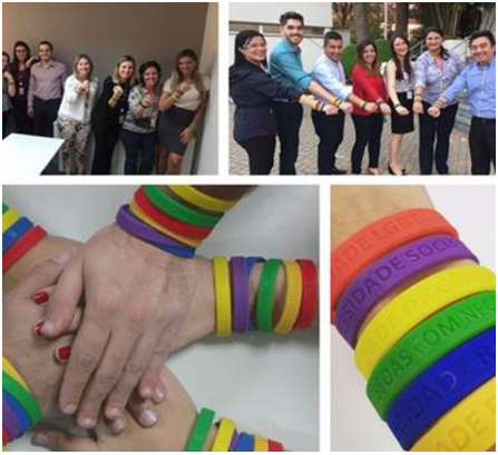 a collage of pictures featuring various ADP associates showing off colorful bracelets