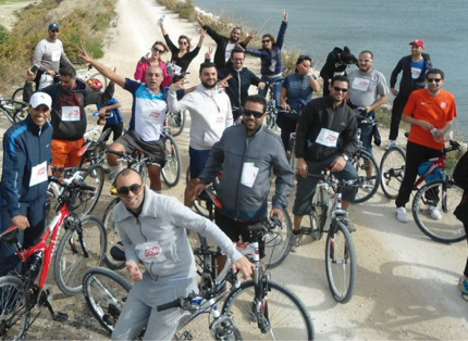 group of ADP associates participating in a cycling event