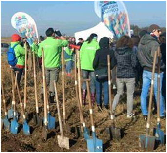several blue shovels standing in the ground behind a group of ADP associates
