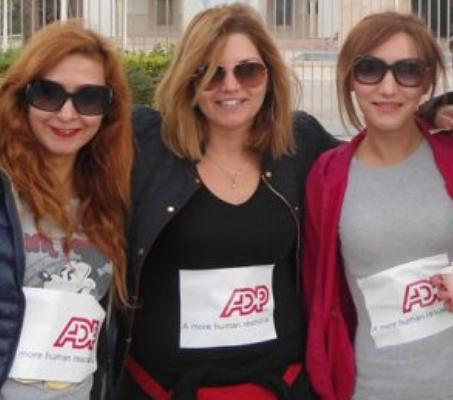 three female ADP associates wearing sunglasses