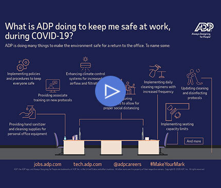 What are ADP and our associates doing to stay safe at work during COVID-19?