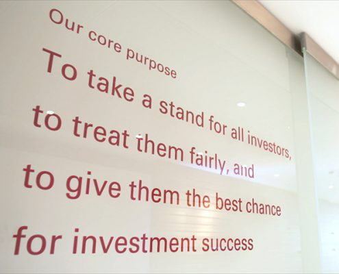 Vanguard's mission statement featured on lobby wall