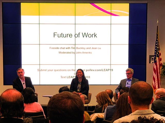 (Left to right) John Ameriks, Jean Lu, and Tim Buckley discuss Future of Work