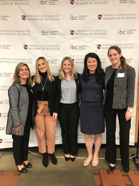 Colleagues recruiting at Women in Business event
