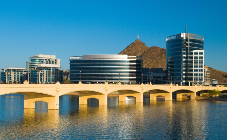 The Tempe Bridge across Tempe Town Lake.