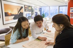 Employees in Hong Kong office