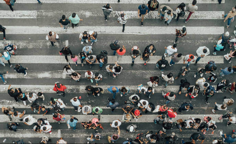 Overhead shot of people walking on the street