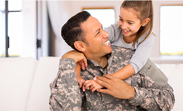 Male wearing military clothes and his daughter