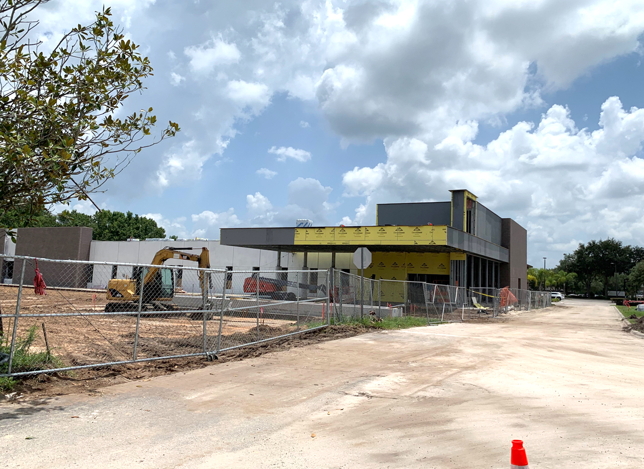 side view of AdventHealth Oviedo ER construction site on 6/23