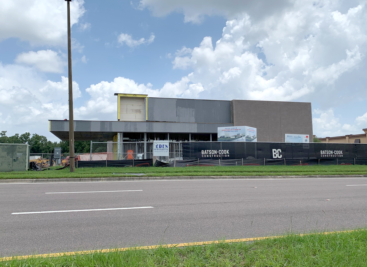 front view of AdventHealth Oviedo ER construction site on 6/23