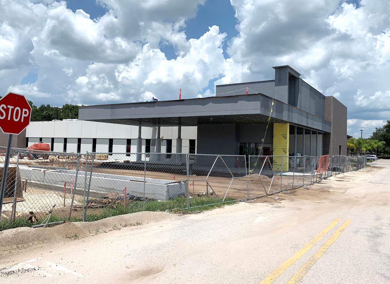 side view view of AdventHealth Oviedo ER construction site on 7/5/19