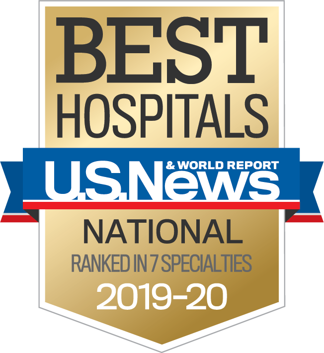 U.S. News & World Report: Best Hospitals - National - Ranked in 7 specialties 2019-2020