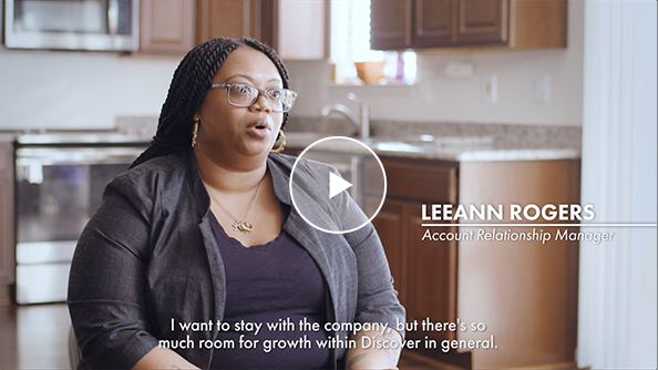 Leanne Rodgers, Discover employee, sits to talk about her experience and the support she's received at Discover.