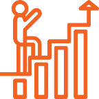 An orange lineart of a person climbing up stairs with an arrow going up