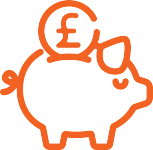 An orange lineart of a piggy bank with pound currency symbol